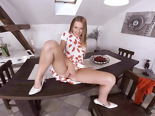 Sex-hungry beauteous Timea Bella is toying pussy on transmitted to panel