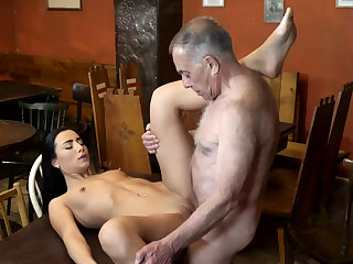 Old man make the beast with two backs anal together with young kissing first time saw his