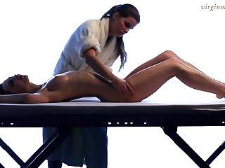 Lesbian masseuse enjoys touching beautiful young body be required of 18 yo virgin Vika