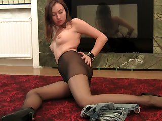 Horny pantyhose chick proudly exhibitionism her crestfallen legs and ass